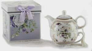 """Delton Purple Elegance Tea For One Teapot & Cup Stacked Teapot Gift Boxed Set 6"""""""