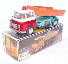 China ME-679 HINO TIPPING DUMP TRUCK 31cm Long! Batt. Op. Tin Toy NMIB`76 RARE!
