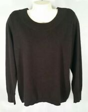 Chico's Womens Sweater Long Sleeve Brown Crew Neck Ribbed Pullover Top Size 2 B
