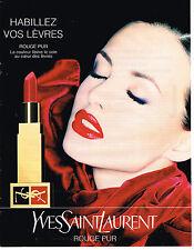 PUBLICITE ADVERTISING 104 1995  YVES SAINT LAURENT cosmétiques rouge à lèvres