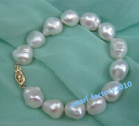 NATURAL 12-13MM  SOUTH SEA GENUINE baroque WHITE PEARL BRACELET 14K GOLD CLASP