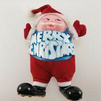Vintage Coccolino S Korea plush Santa Claus Rubber Face Doll Merry Christmas