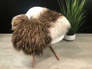 XL Icelandic Curly Brown White Pet Bed Sheepskin Soft Wool Seat Cover Hide