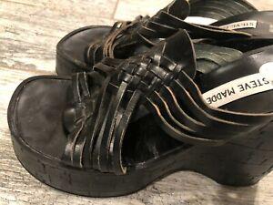 Steve Madden 39 8.5 M Black braided Leather Wedges Shoes Slip On Heels Slip On