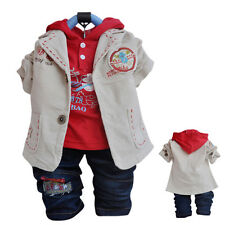BOY Toddler 3 PC Outfit Set Casual Party Suit Size1-6 Years Jacket+Top+ Jeans