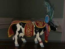 Aztec Cow Parade Figurine Mexico City Retired Collectible Feather Headdress 7744