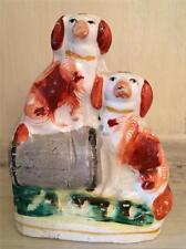 Antique Miniature Staffordshire Spaniel Dogs on a Barrel