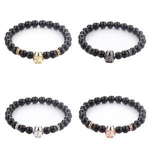 Starwars Cosplay Stormtrooper Bracelet  8MM Onyx Beads Charm Men's Bracelets