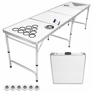 GoPong 8' Beer Pong Party Dry Erase Drinking Table Portable Indoor Outdoor Games