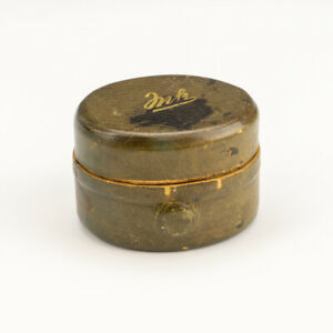 Antique Tooled Leather Covered - 'Ink' - Miniature Travel Inkwell`