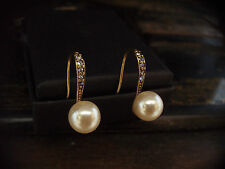 Vintage Deco Light Sapphire Blue Crystal & Pearl Drop Earrings. V Downton Abbey