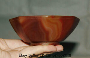 """4.2"""" Old Chinese Hongshan Culture Red Agate Carved octagon Bowl Bowls Cup vessel"""