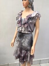 Silk grey gypsy skirt tie dye with matching top ,ruffles small elasticated waist