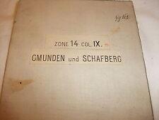 historische Landkarte Karte Gmunden Schafberg Zone 14 Col. IX Österreich Leinen