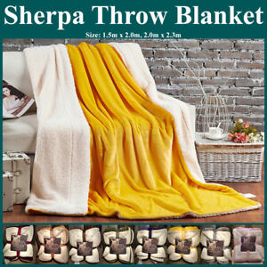 Ultra Plush Micro Mink Faux Sherpa Lambswool Throw Blanket Reversible Luxurious