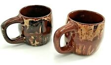 Art Pottery Coffee Mug Clay's In Calico, Set of 2 Vintage Earthenware