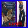$1,420 ROBERTO CAVALLI Ladies JEWELED JEANS PANTS w/ Bag & Price Tag (40)
