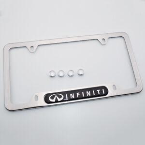 For Infiniti Brand New License Frame Plate Cover Stainless Steel Chrome