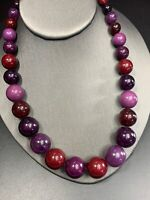 Vintage Bib Statement Necklace Shades Of Purple  Graduated  Beaded 18""