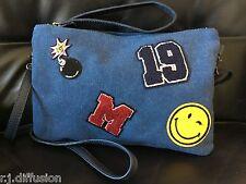 Sac à main pochette bandoulière femme toile coton cuir italien swag funky bleu