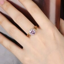 Sparkly Round Pink Cubic Zirconia CZ Promise Women Engagement Gold Ring #7-10