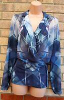 WAREHOUSE BLUE GREY ABSTRACT ART WRAP ZIP BIKER LONG SLEEVE BLOUSE TOP SHIRT 10