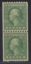 U.S. STAMP  #486 COIL PAIR -- 1c WASH-FRANK -- ROT, p10H, UNWK — 1918 — MINT