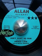 PRINCE LOVE 45 RE- DON'T WANT NO WAR - GREAT 50s ALLAH RHYTHM AND BLUES LISTEN!