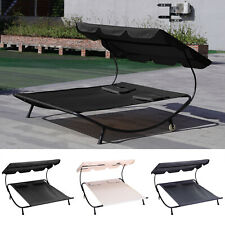 More details for double sun lounger day bed garden outdoor hammock adjustable canopy shade pillow