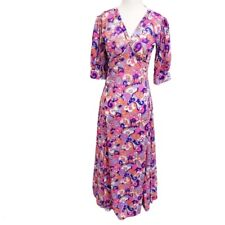 1970s Long Maxi Floral Multicolor Psychedelic Print Dress