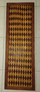Antique Vintage Handcrafted Diamond Inlay Design Wood Coffee Table Art Deco