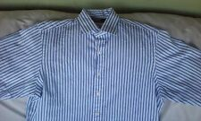 Ralph Lauren Men's White Blue Striped Dress Long Sleeve Shirt Size 17 32 / 33