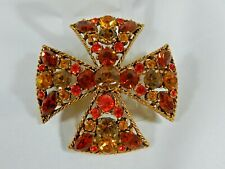 Striking 1950's Signed Regency Maltese Bright Multi Rhinestone Brooch Pin Evc
