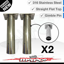 2 x Marine Grade Stainless Steel Straight Rod Holders Flush Mount Fishing Boat