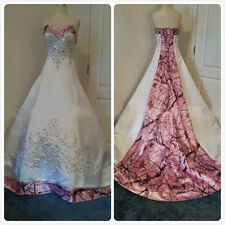 Custom Made Pink Camo Ball Gown Wedding Dresses Embroidery Applique Bridal Gowns