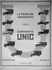 PUBLICITÉ AUTOMOBILES UNIC LA REINE DES CAMIONNETTES ÉCONOMIQUE INUSABLE