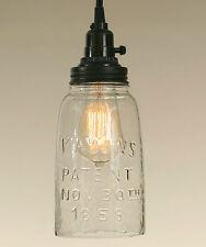 New Rustic Half Gallon CLEAR Mason Jar Open Bottom Industrial Pendant Light Lamp