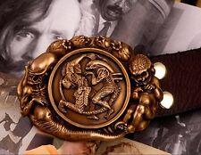Cool Handmade Bronze Avp Predator Alien Men Belt Buckles Cowhide Leather Op97