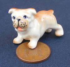 1:12 scala DOLLS HOUSE miniatura Brown & WHITE CERAMIC DOG Giardino Accessorio lp8