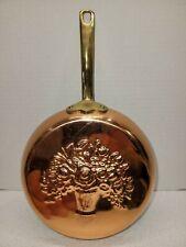 """Vintage Floral Embossed Skillet Wall Hanging Mold Copper Brass Korea 6.5"""" Diam"""