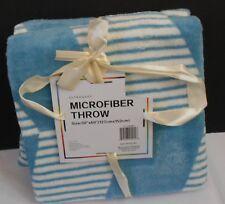 BLUE WHITE GEOMETRIC MICROFIBER FLEECE THROW Blanket 50 x 60 ULTRA SOFT