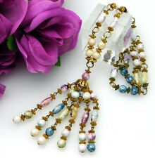 Vintage Double Strand Art Glass Tassel Necklace w/Pastel Glass Beads Deco Style