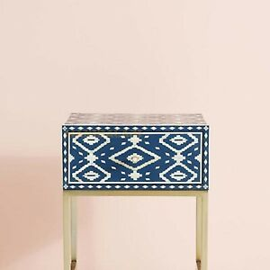 Bone Inlay Nightstand Brass Polished Stand Ikat Design in Blue Color With insura