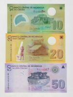 THREE 2007 CORDOBAS BANKNOTES FROM NICARAGUA IN MINT CONDITION.