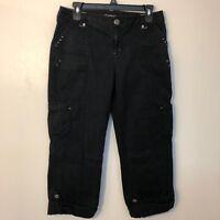 INC International Concepts  women Sz 6 capri pants black with metal studs