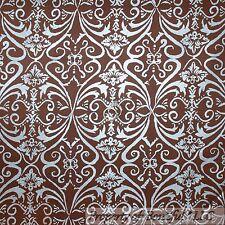 BonEful Fabric FQ Cotton Quilt Brown Silver Blue Flower Damask Metallic US Earth