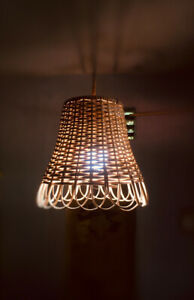Bamboo Rattan Hanging Ceiling Lampshade Drum Wicker Pendent Rustic Vintage