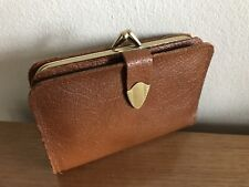 Tan Leather Trifold Purse: Made in England: Gold Tone Metalwork - Real Style