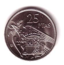 ESPAÑA: 25 Pesetas FRANCO 1957 estrella 70 S/C del cartucho