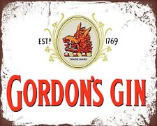 "10"" x 8"" GORDON'S GIN TONIC LEMON PUB BAR MAN CAVE METAL PLAQUE TIN SIGN 603"